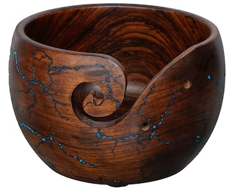 The Wrightwood Indian Rosewood Hand Carved Wooden Yarn Bowl - 6 X 4 Lichtenberg Figure