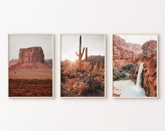 Desert Prints Set of 3, Arizona Desert 3 Pieces Wall Art, Boho Desert Art Print, Nature Gallery Wall Set, Printable Poster, Large Wall Art