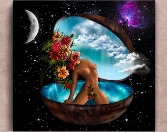 Kundalini Awakening Fine Art Paper Print, spiritual divine energy wall art space nebula moon galaxy poster, feminine goddess energy