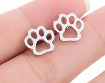 Cat Paw Post Rose Gold Stud Earrings Dog Paw Paw Print Post Earrings Silver Dog Mom Gift Animal Lover Earrings,Gift for Her