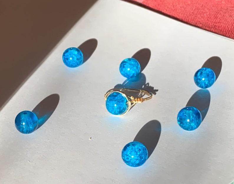 blue crackle quartz ring