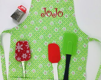 Child's Personalized Apron, Girl Handmade Cotton Apron, Kid's Apron, Pretend Play, Child's Cooking Apron