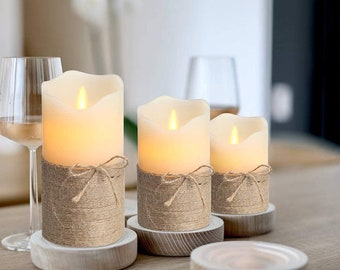 Flameless Candles, Tea Light Candle Battery, Set Of 3 Battery Operated LED Candle with Timer and Remote Control, Boho Home Decor #76 - H100