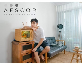The wooden TV aquarium model is designed and processed according to the classic style TV model in the late 60s   By AESCOR