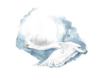 Swan Feather  Swan Theme  Winter  Moon  Unique Card  Happy Birthday  Just to Say  UK  Stratford-upon-Avon Greetings Card 'Luna'