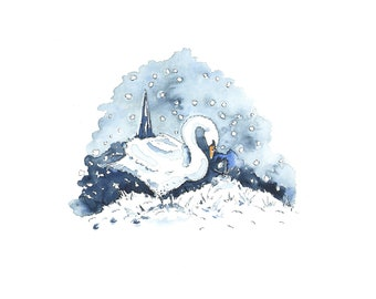 Winter Swan Christmas Cards  Pack of 10  UK Christmas Gift  Stratford-upon-Avon Swan Greetings Cards