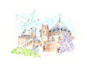Shakespeare Landmark  UK  Theatre Gift  Stage  Stratford-upon-Avon UK RSC 'Swan Theatre' A4 Pen, Ink and Watercolour Print