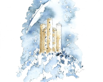 Broadway Tower  Cotswolds  UK  British Landmark  Letterbox Gift  A4 Pen, Ink and Watercolour Print 'Stargazing…'