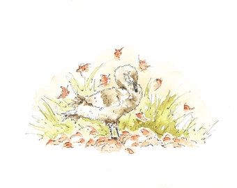 Swan Feather  Swan Theme  Autumn  Unique Card  Happy Birthday  Just to Say  Baby  UK  Stratford-upon-Avon Greetings Card 'Little Autumn'