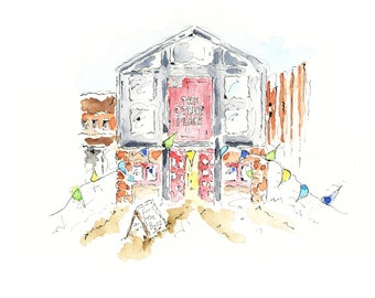 Shakespeare Landmark  UK  Stage  Theatre Gift  Theatre Stratford-upon-Avon RSC 'The Other Place' A4 Pen, Ink and Watercolour Print