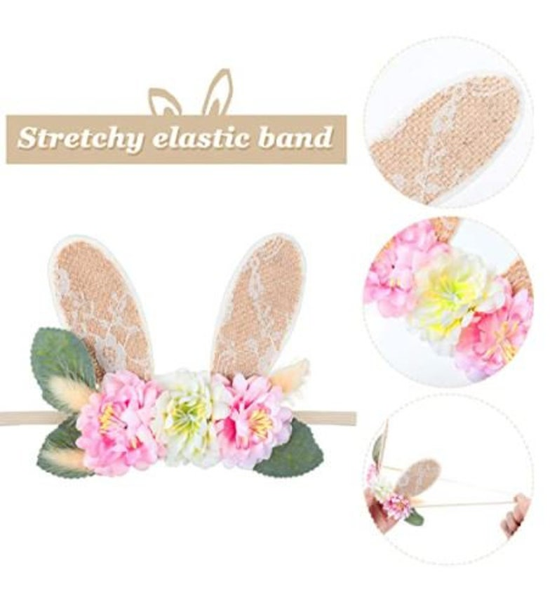 Rabbit Flower Crown Floral Head Piece 2 Pieces Easter Bunny Ears Headband for baby Hair Accessories Spring Bunny Lace Hairband