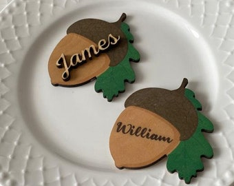 Red Mushroom Squirrel Printable Place Cards Digital Thanksgiving Placecards