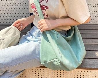 Large Capacity Canvas School Bag,Korean Solid Color Canvas Shoulder Bag,Everyday Bag,Crossbody Bag,