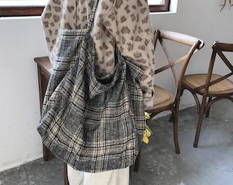 Korean simple large capacity Plaid shoulder bag,vintage shoulder bag,handag