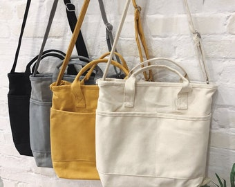 Simple Canvas Bag Women, College Style Student Shoulder Bag, All-Match Messenger Bag