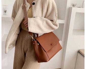 korea vegan leather vintage shoulder bag,large capacity crossbody bag
