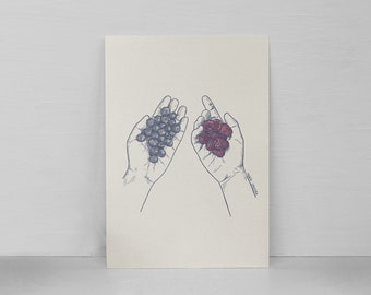 Berries | Illustration | A4/A5 | Berries Art Print | Berries poster | Berries card | Blueberries | Raspberries