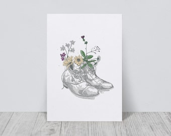 Boots flowers print | A5|  Boots flower illustration | Dance shoes illustrations | Spring shoes