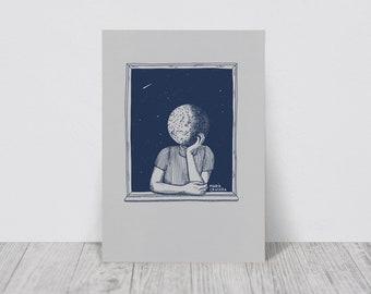 Moon illustration | A4 | Moon print | Moon art print | Surrealist moon illustration