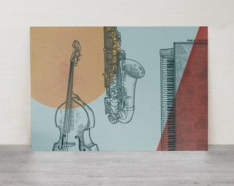 Jazz | Illustration | A4/A5 | Jazz Art Print | Jazz poster | Jazz card | Music | Musical instruments | Piano | Saxophone | Double bass