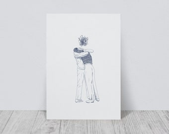 Hug illustration print | A4/A5 | Illustration Art Print | Hug Illustration | Friendship | Love
