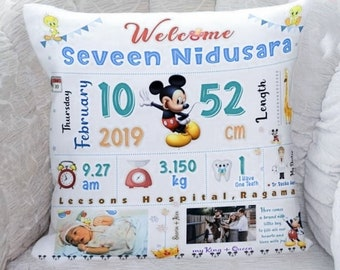 Distinct Interior Personalized Baby Birth Announcement Elephant Baloon Custom Birth Stats Cushion Cover; Baby Pillow With Name
