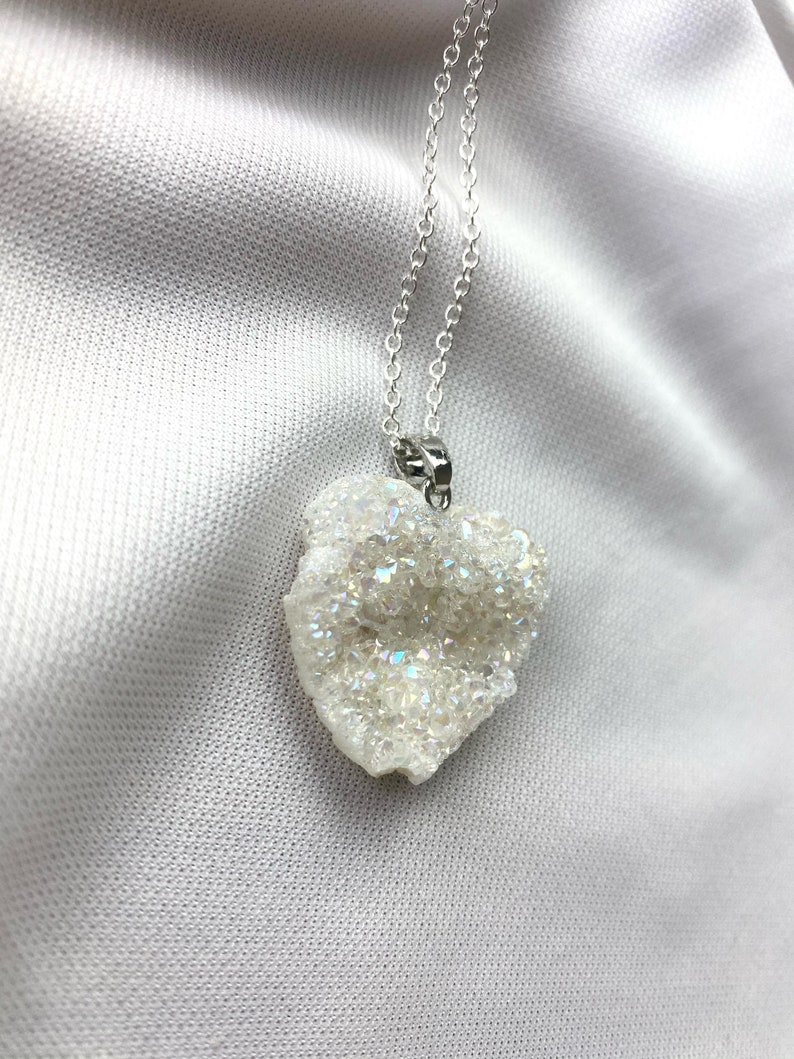 Angel Aura Heart Quartz Druze Crystal Necklace Druzy Necklace Cabochon Natural Gemstone Birthday Anniversary Gift FREE Delivery