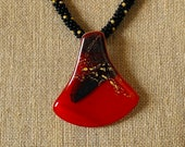 Red Fused Glass Pendant with Kumihimo Necklace