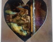 """Upcycled Copper Hearts 8"""" x 8"""" wall hanging or table top"""