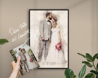 Hochzeit Portrait / Gemälde personalisiert mit Namen oder Datum   Gemälde vom Foto, Poster, Geschenk, Mensch