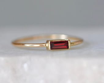 January Birthstone Thin Band Ring Natural Red Garnet Ring Minimalist Garnet Ring Dainty Garnet Promise Ring Gifts Baguette Garnet Ring