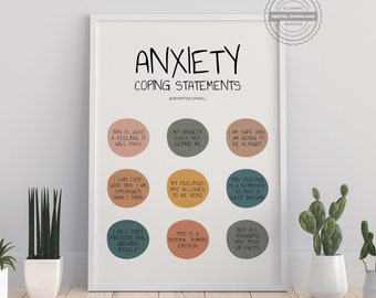 Anxiety Coping Statements Anxiety Help Management Mental Health Print Therapist Office Decor Therapy School Counseling Tools Self Care Art