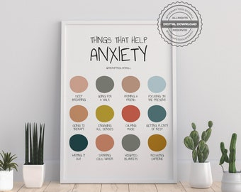Anxiety Digital Print   Therapy, Counselor, Psychologist, Self-help, Mental Health Prints   Self-care Poster, Office, Home Wall Art Decor