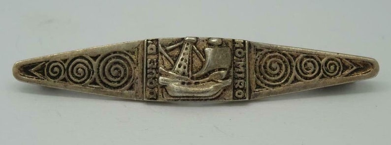 Vintage kelt sterling silver 15th century french fleet design pin brooch