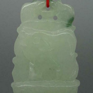1803-17 Gamble Stone Jade Stone Pig  Hog Polished Translucent Chinese Zodiac Jadeite Pendant