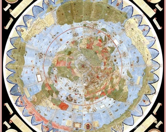 Flat Square Earth Stationary Map Print Number 10 A4 Historic Art Picture Poster