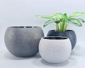 Sphere planter Rock granite stone look planter Live flowers Unique planter Minimalist style Concrete look Minimalist planter Modern