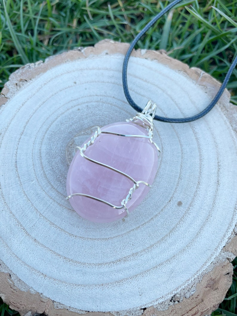 Rose Quartz cabochon necklace pink oval crystal pendant black rope silver wire wrapped crystal love stone Quartz gemstone