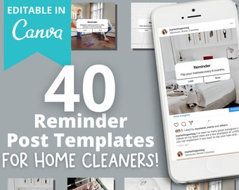 EDITABLE 40 Instagram Reminder Posts for Home Cleaning Businesses   Cleaning company social media posts    house cleaning instagram
