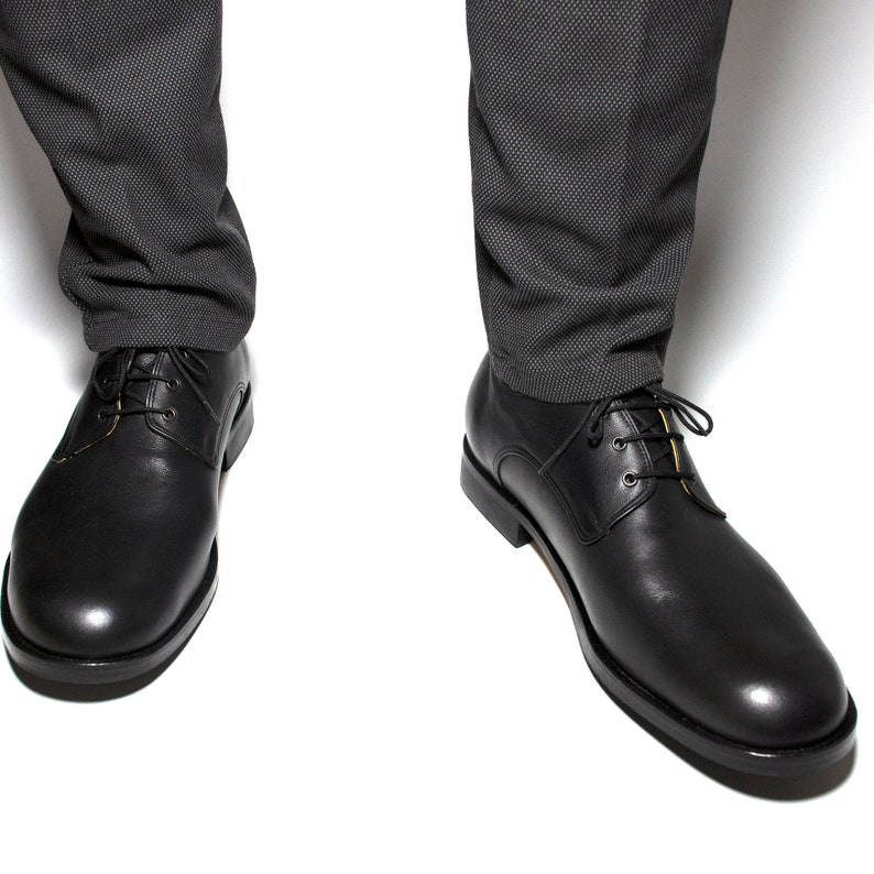 Men/'s Handmade Leather Derby ShoesMen/'s Handcrafted Genuine Leather ShoesTie Leather ShoesBlack Leather Comfort Shoes