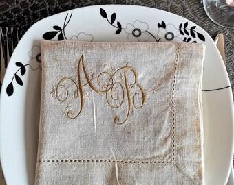 Cotton Napkins Embroidered White Table Linens Vintage White Napkins Set of 2
