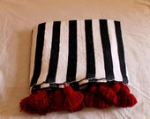 Moroccan Pom Pom Throw Blanket - Soft Cozy Cotton Moroccan Pom Pom Blanket, King size blanket, white with black stripes,personalized gifts