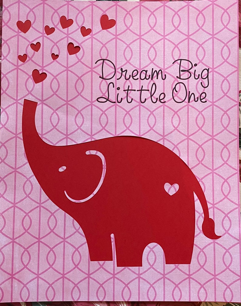 Dream Big in Pink and Red One of A Kind  Elephant Children\u2019s Art