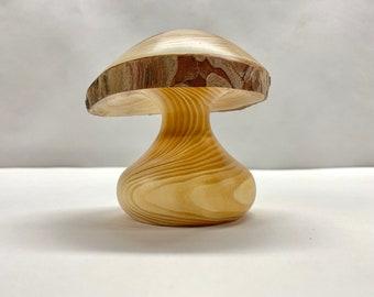 spalted birch mushroom collectible mushroom Wooden mushroom wood turned mushroom