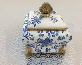 Mother s Day Gift Ceramic trinket Dish Pot with lid Regal Blue Bird Hand decorated Decoupaged Gift for Her Gift for Nan