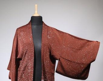 Japanese vintage silk Freehand drawing dyeing haori coat jacket of\u3000Pattern of flower of black\u3000background