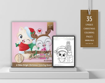 VOL.1 | Bright Shine Christmas Lights – A Shine Bright Christmas Coloring Book | 35 Digital & Printable Coloring Pages | Instant Download
