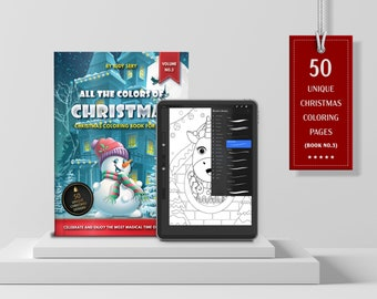 VOL.3 | All the Colors of Christmas Digital and Printable Coloring Book | 50 Digital & Printable Coloring Pages | JPG, PDF, Instant Download