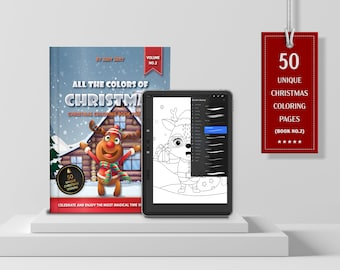 VOL.2 | All the Colors of Christmas Digital and Printable Coloring Book | 50 Digital & Printable Coloring Pages | JPG, PDF, Instant Download