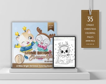 VOL.2 | Bright Shine Christmas Lights – A Shine Bright Christmas Coloring Book | 35 Digital & Printable Coloring Pages | Instant Download